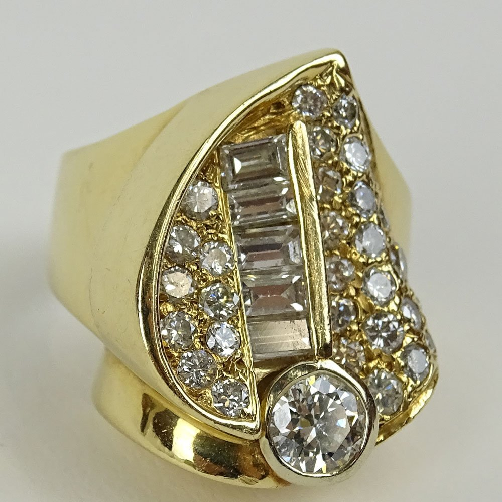 Ladies Heavy 3.25 Carat Diamond and 14 Karat Yellow