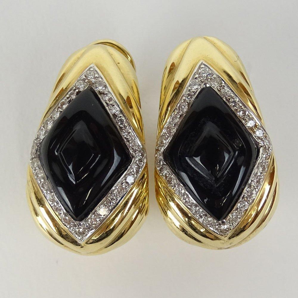 Pair of 14 Karat Yellow Gold, Diamond and Black Onyx