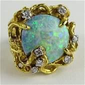 Ladys Vintage White Opal Round Cut Diamond and 18