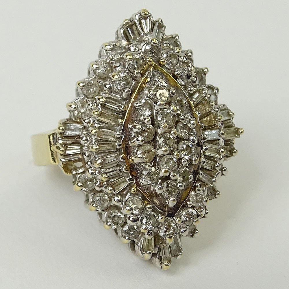 Lady's Vintage Diamond and 14 Karat Yellow Gold Ring.