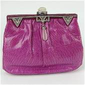 Judith Leiber Snakeskin Clutch with 'Jeweled' Clasp.