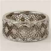 Mario Buccellati Diamond and 18 Karat White Gold Ring