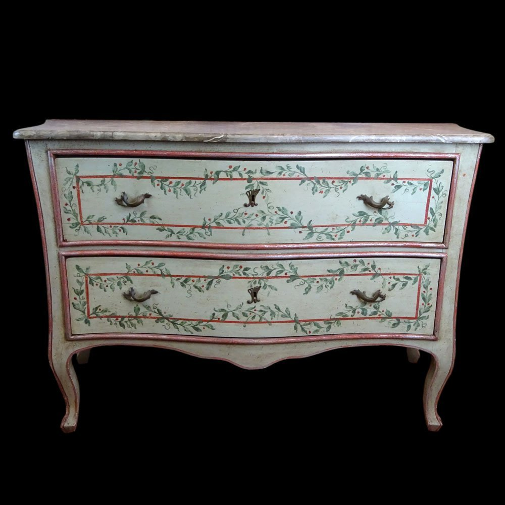 Mid 20th Century Italian, painted 2 drawer commode with