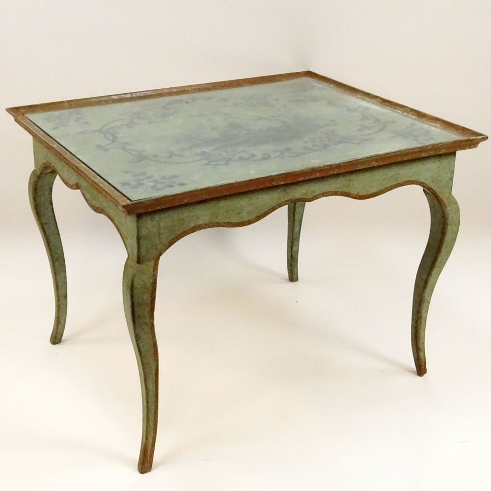 Antique French Louis XV Style Painted Tea Height Table