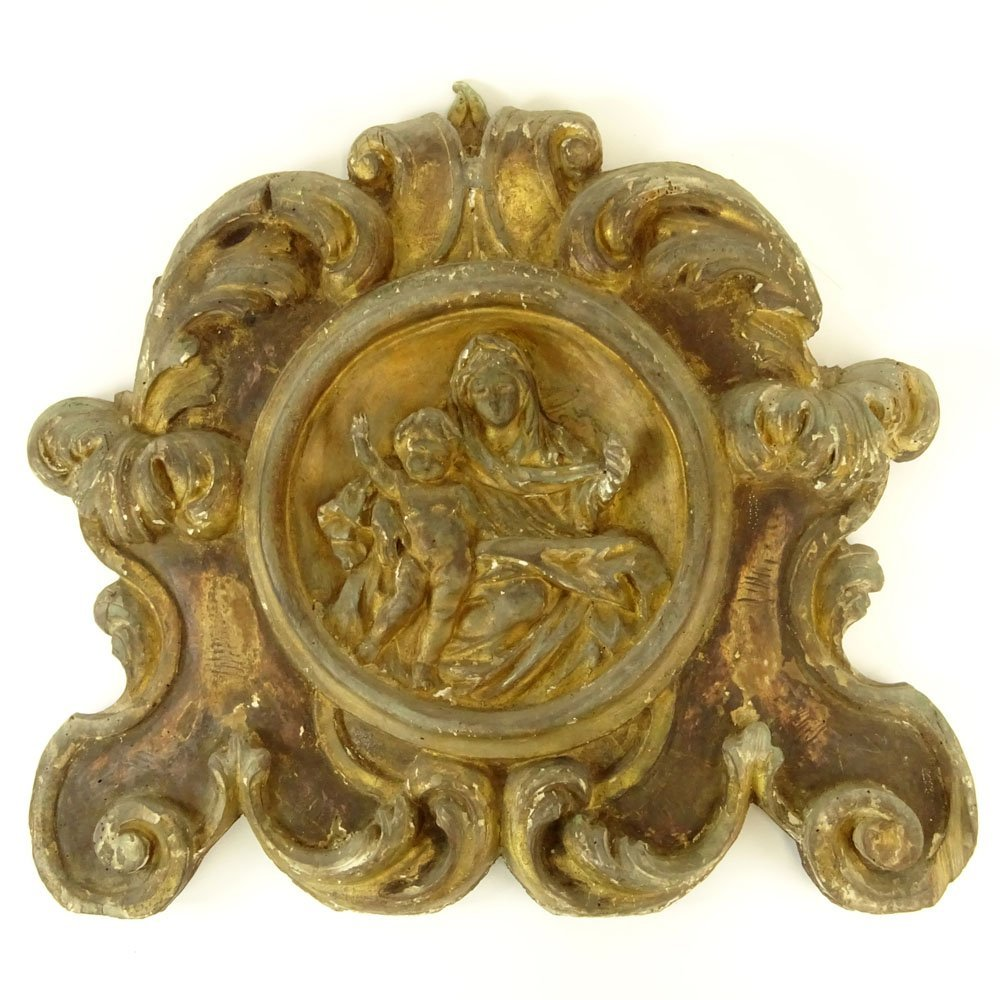 19th Century Probably Italian Carved Parcel Gilt Wood
