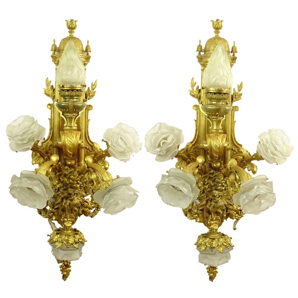 Large and Heavy French Gilt Bronze Six (6) Light