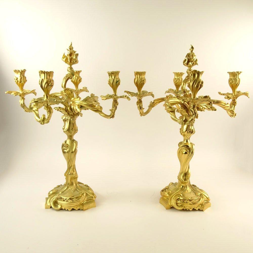 Pair 20th Century gilt bronze rococo 4 light