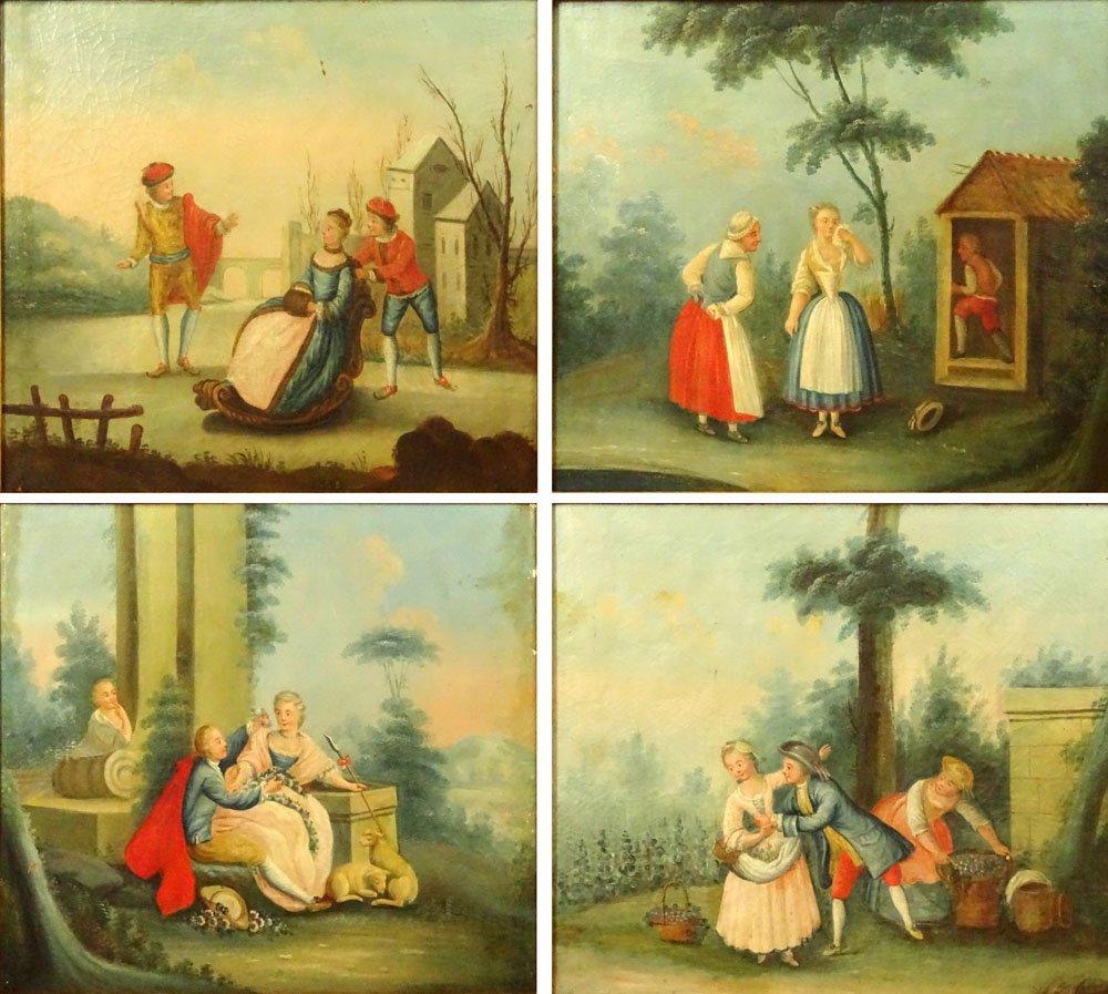 Lot of 4 Italian 19th Century oil on canvas paintings
