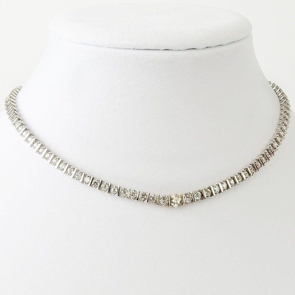 Lady's Vintage 10.0Ct Total Diamond, 14kt Gold Necklace