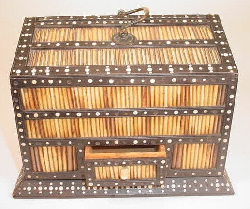 1: Antique Ebonized Inaid Porcupine Quill Cigar Humidor