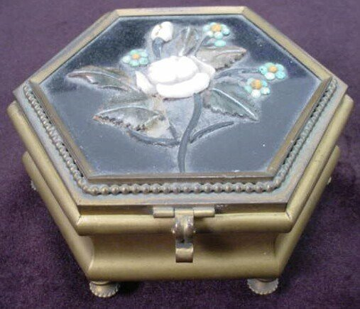 2: 19th Century Stone Inlaid Octagonal Footed Hinged Je