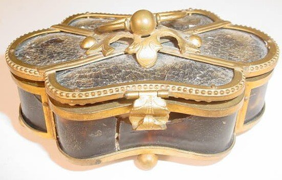4: 19C Miniature Gilt Metal Box w/ 5 Pc Sewing Kit