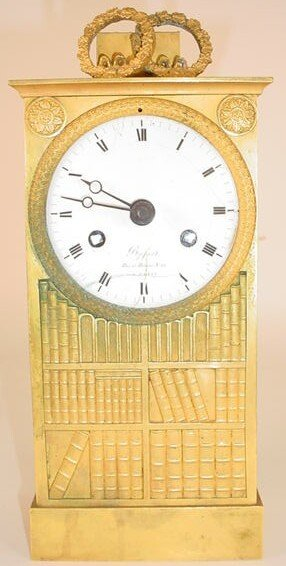 7: 19C French Gilt Bronze Bookcase Clock