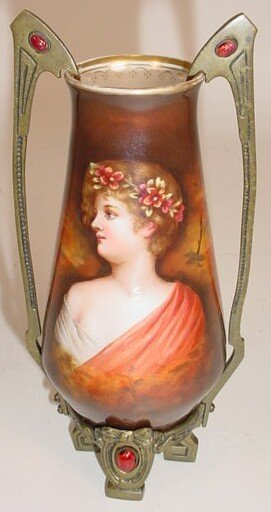 8: Art Nouveau German Porcelain Portrait Vase