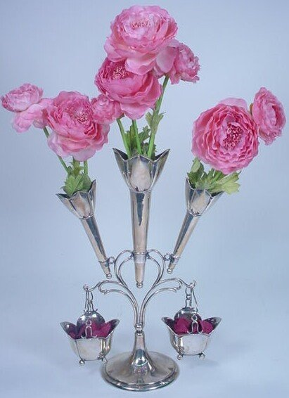 18: Late Victorian Sterling Silver Epergne. Base with T