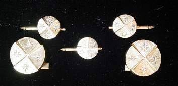 103 14K Gold Diamond Cufflink SetSuite w Matching Tu