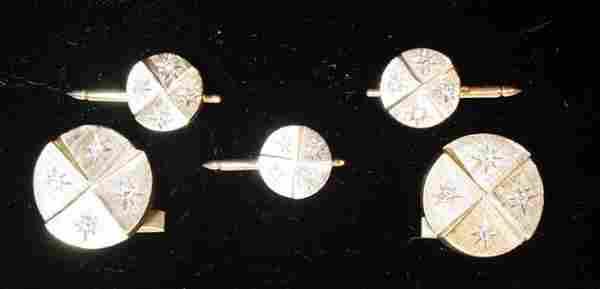 103: 14K Gold Diamond Cufflink Set/Suite w/ Matching Tu