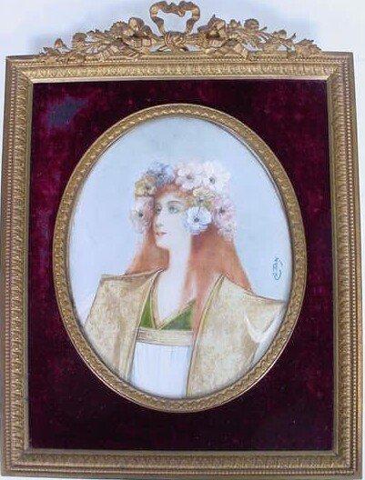 187: Large Art Nouveau Hand Painted Miniature Portrait