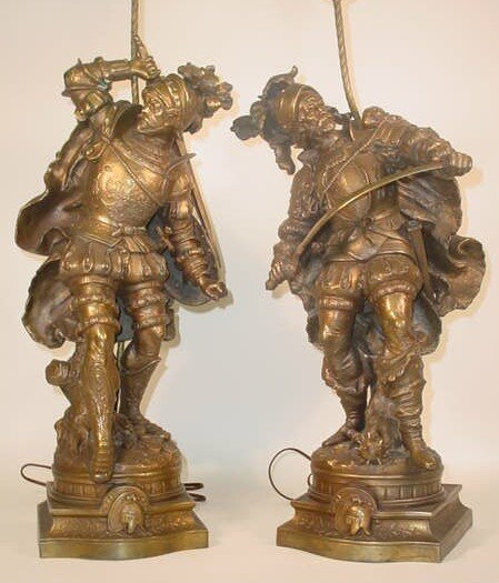 255: 2 Late 19C Patinated Spelter Medieval Guards or Wa