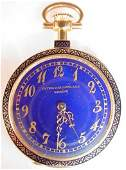 170B Rare Patek Philippe 18K Gold Enamel Diamond Watch