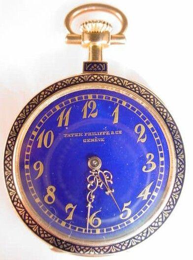 170B: Rare Patek Philippe 18K Gold Enamel Diamond Watch
