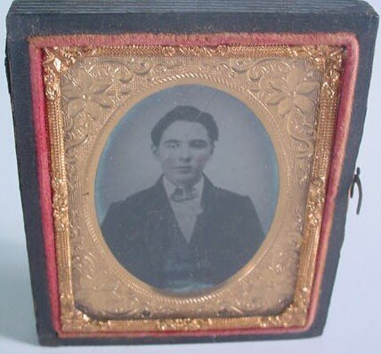 504: 1/9 Plate Ambrotype in Leatherette Case. Identifie