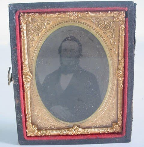 513: 1/9 Plate Ambrotype in Leatherette Case. Identifie
