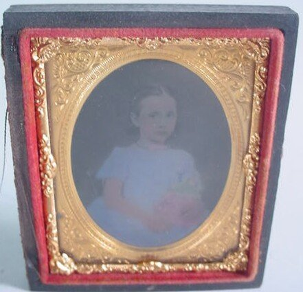 514: 1/9 Plate Hand Colored Ambrotype in Leatherette Ca