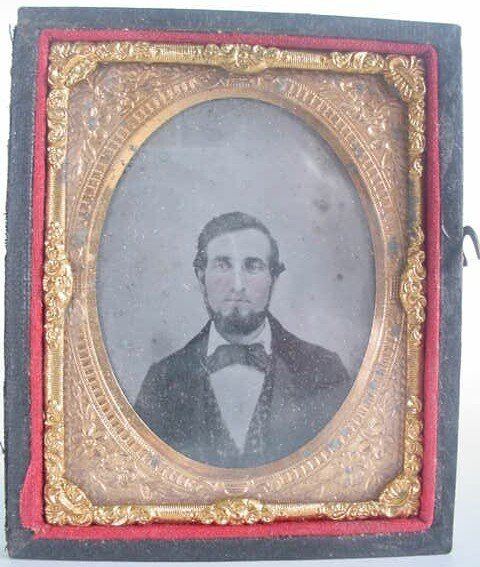 515: 1/9 Plate Ambrotype in Leatherette Case. Identifie
