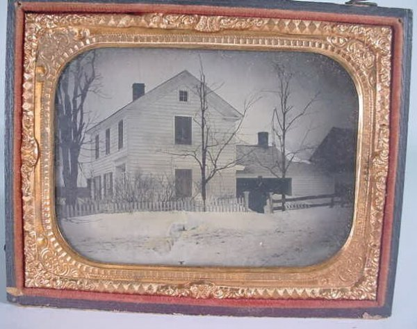 519: 1/4 Plate Ambrotype of an Outdoor Scene in Leather