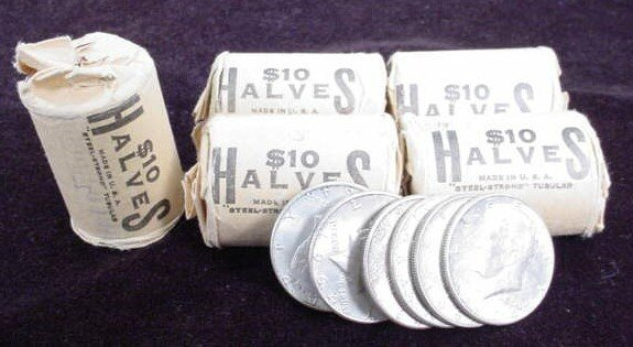 529C: Five (5) $10 Rolls of Uncirculated 1964 Kennedy H