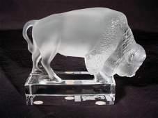 530 Lalique France Crystal Figural Buffalo Bison Art G