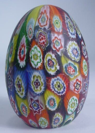 586: Vintage Murano Egg Shaped Millefiori Art Glass Pap