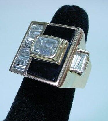 595A: 3.65 Ct Diamond 14K Gold Onyx Ladies Ring