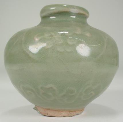 5: Small Longquan Celadon Spherical Jar/Miniature Vase
