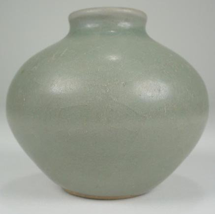 24: Small Longquan Celadon  Spherical Jar/Miniature Vas