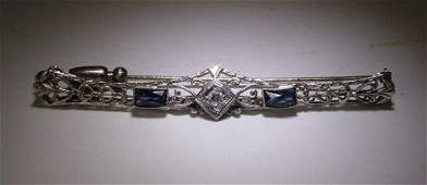 254A Ladies Edwardian 14K Gold Sapphire Diamond Filagr