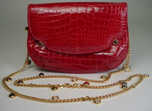 354: Judith Leiber Red Faux Alligator Evening Bag with