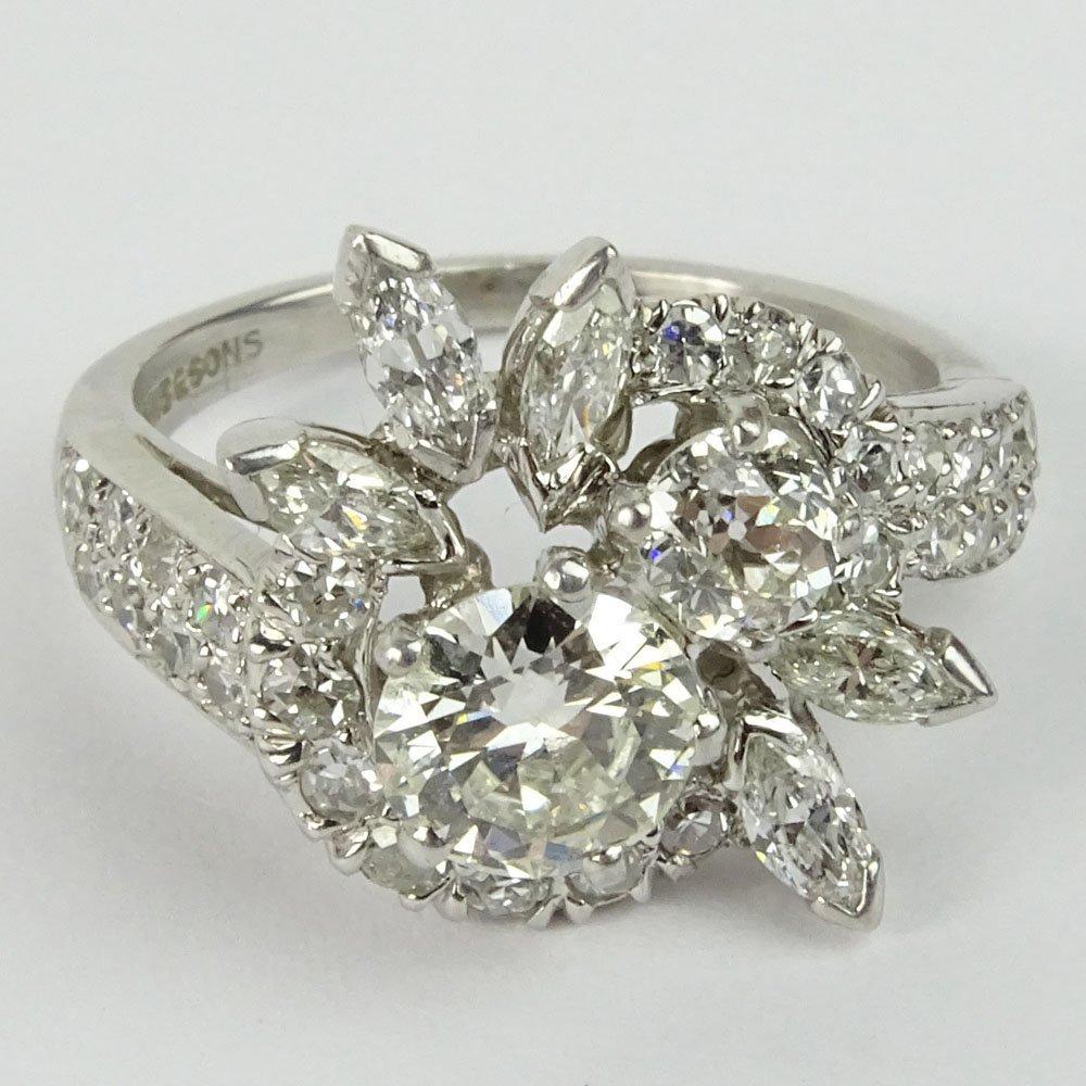 Lady's Vintage Diamond and 18 Karat White Gold Cluster