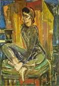 MidCentury Cubist School Oil on Canvas Portrait of a