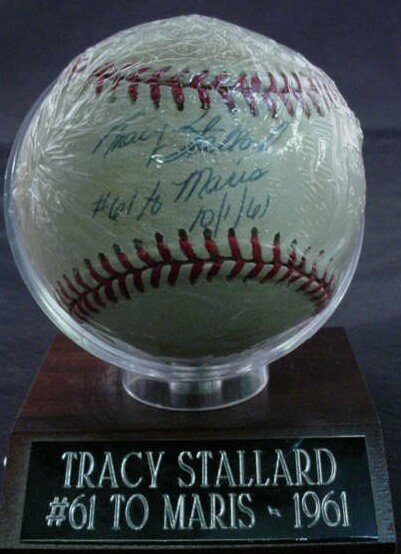 "1006: Baseball signed: ""Tracy Stallard, #61 to Maris (a"