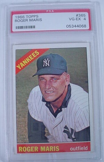 1010: 1966 Roger Maris Topps #365 PSA4 Graded Card. Shi