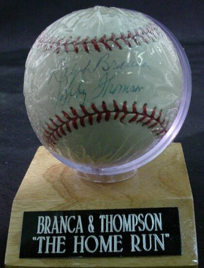 "1015: Baseball signed: ""Ralph Branca and Bobby Thomson"""