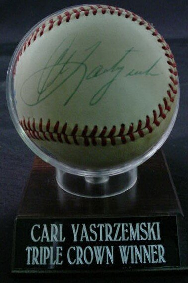 "1017: Baseball signed: ""Carl Yastrzemski"" Rawlings Offi"
