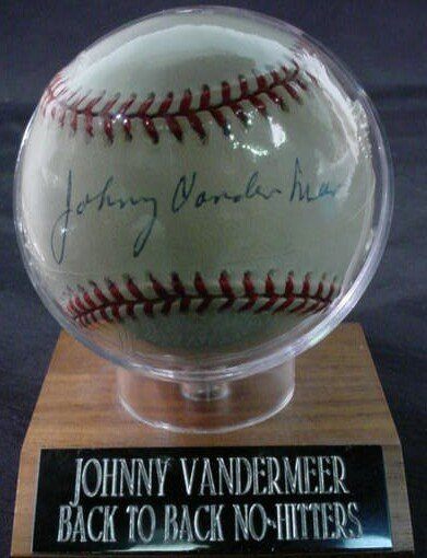 "1018: Baseball signed: ""Johnny Vandermeer "" Rawlings Of"
