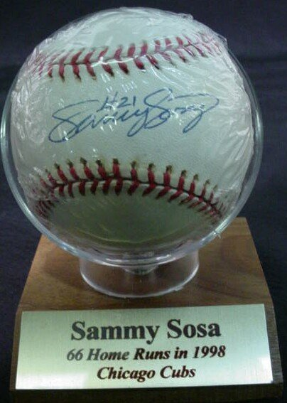 "1023: Baseball signed: ""Sammy Sosa #21"" Rawlings Offici"