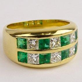 Lady's Fine Emerald, Diamond And 18 Karat Yellow Gold