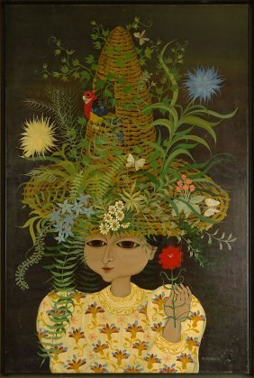 "Carlos Perteagudo (b. 1937) Oil On Canvas ""girl With"