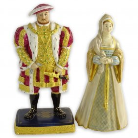 """Two (2) Royal Worcester Porcelain Figurines """"henry Vlll"""