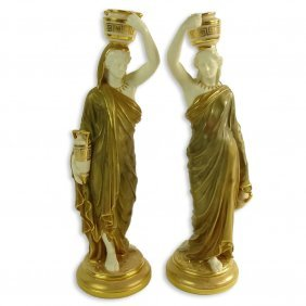 Pair Of Royal Worcester Classical Figures. Signed. Good